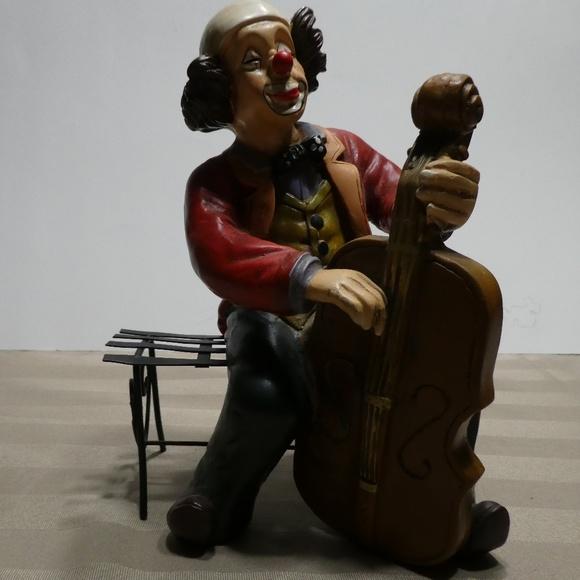 CLOWN porcelain figurine - music theme Cello